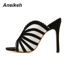 Zebra Stripe Peep Toe High Heel