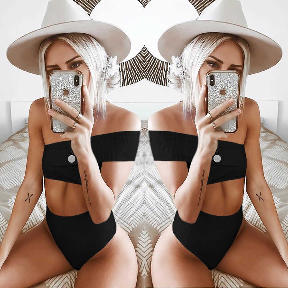 ZTVitality Sexy Irregularity One Shoulder Solid Swimwear Women Bikini 2019 New Arrival High Waist Swimsuit Brazilian Biquini S-L
