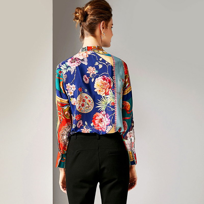 Manches Imprimer Shirt Et Soie Lâche Longues Tops Multi Qualité Vintage Mûrier 100 Arc Chemises Col Haute Femmes Bureau Blouses fxp8qORXwa