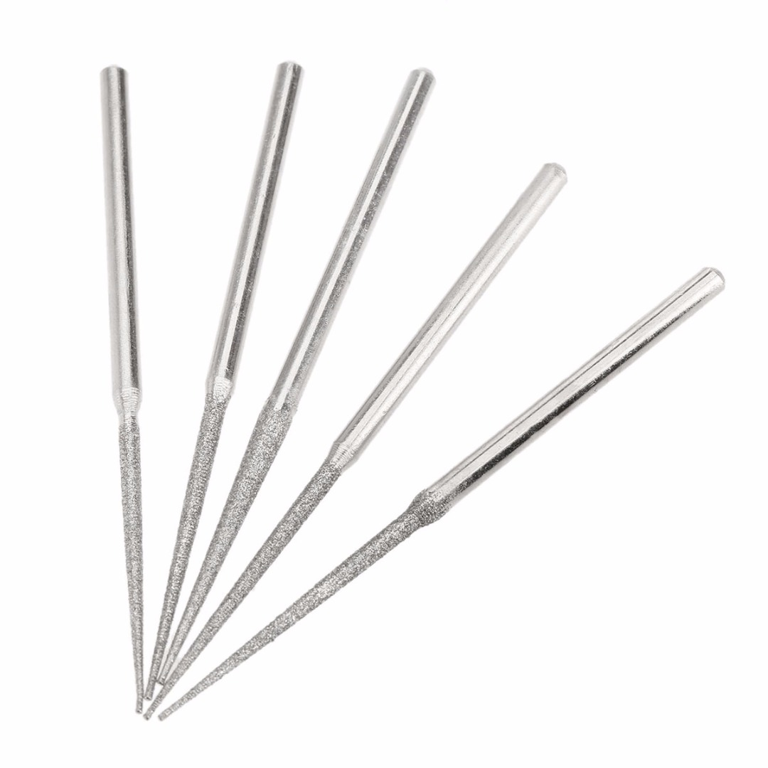 5PCS 3mm Shank Grinding Rods Mini Drill Diamond Grinding Head Bur Needle Engraving Carving Polishing Glass Jade Stone Drill Bit