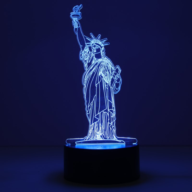 Character Statue Of Liberty 3d Night Light Simple Fashion Birthday Light Lovely Cartoon Children's Toys 3d Lamp