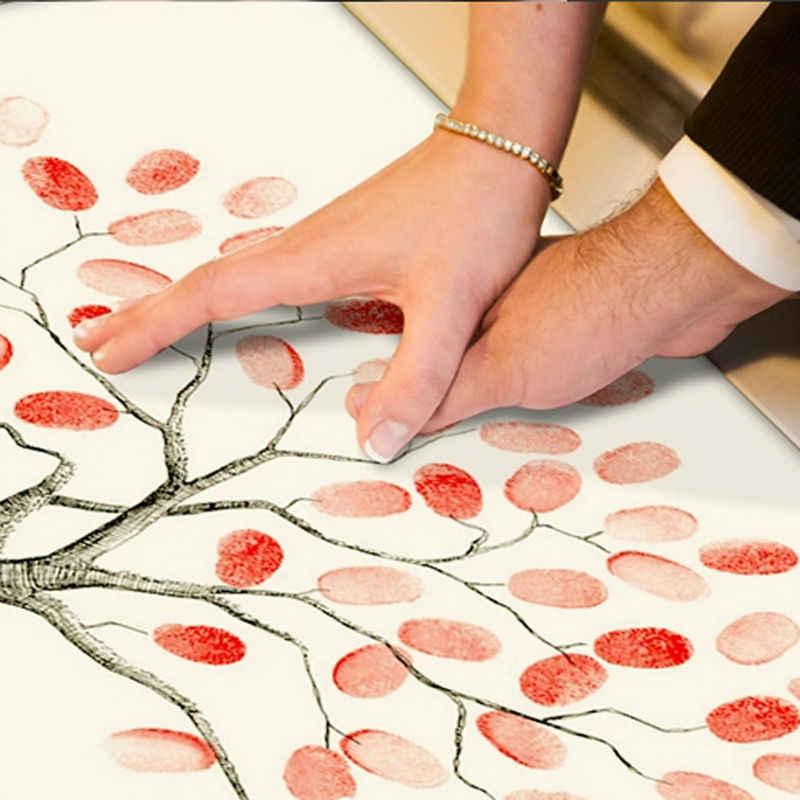 指紋ツリー署名キャンバス絵画象結婚祝い結婚式diyの装飾パーティーギフト(インクルード6Ink色)