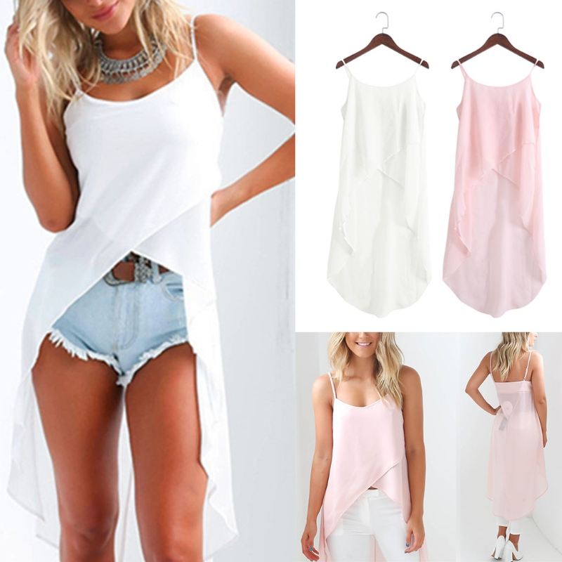 Summer Women Dress Robe Sexy Casual Sling Strap Chiffon Beach Vestido