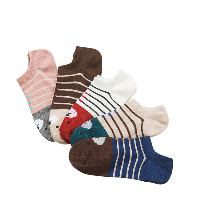 5 Pairs Women Socks Warm Comfortable Casual Cotton Girl Ankle Socks Durable Shallow Mouth Invisible Striped Female Sock Hosiery