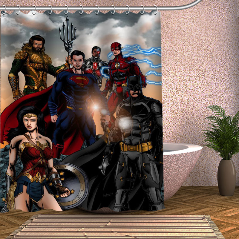 Justice League Shower Curtain Eco Friendly Modern Fabric Polyester Custom Bath Curtains Home Decor In From Garden On