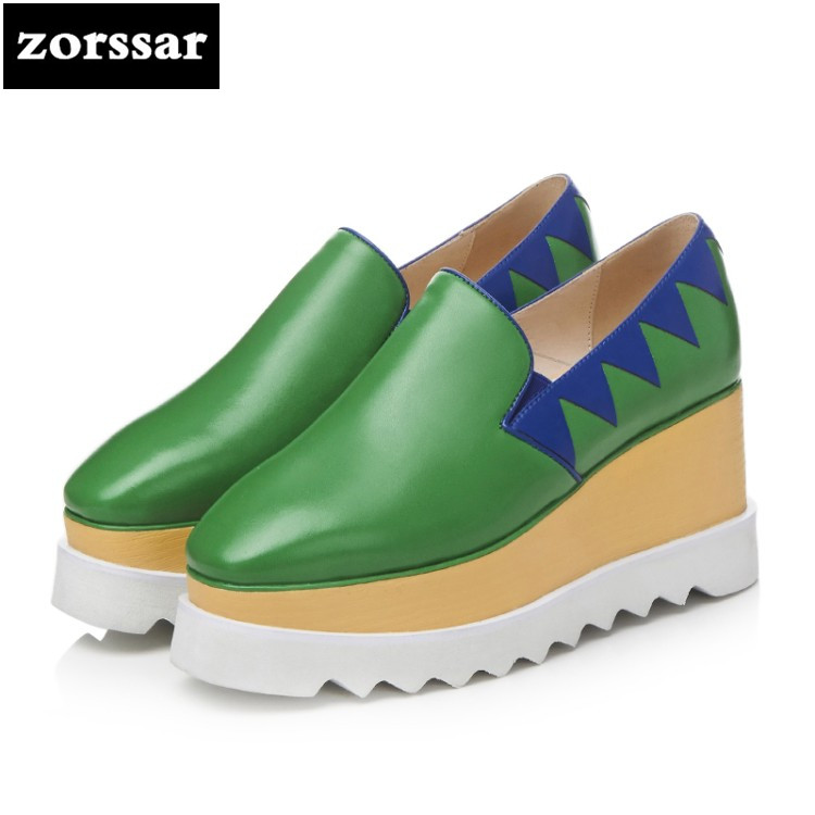 {Zorssar} 2018 NEW fashion Genuine leather womens Creepers shoes Leisure Slip-on Square toe Wedges High heels Platform pumps nayiduyun women genuine leather wedge high heel pumps platform creepers round toe slip on casual shoes boots wedge sneakers