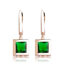 Blucome Classic Square Drop Earrings With Green Rhinestone For Women Wedding Bridal Style Gold Silver Color Ohrringe Accessories