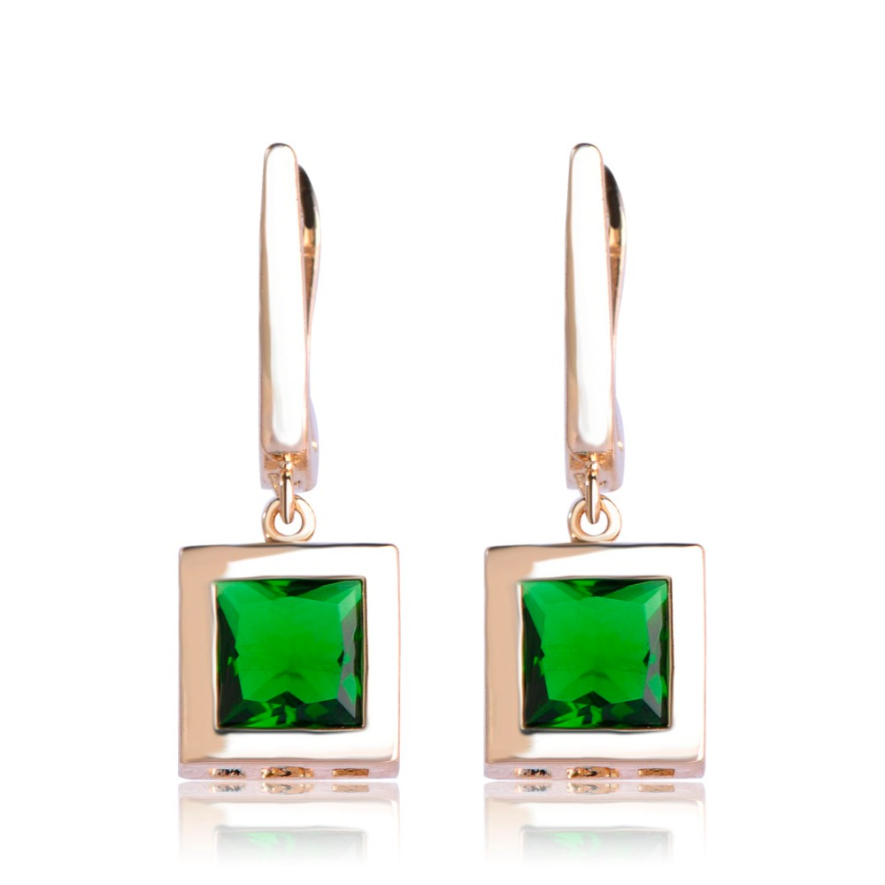 Dazz Classic Square Drop Earrings With Green Rhinestone For Women Wedding Bridal Style Gold Silver Color Ohrringe Accessories ...
