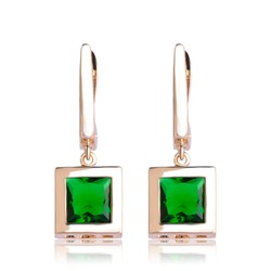 Dazz clássico quadrado brincos com strass verde para o casamento feminino estilo nupcial ouro prata cor ohrringe acessórios