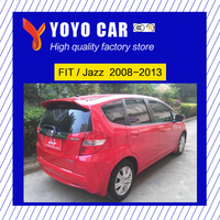 Hot sale ABS red black white or primer color car rear wing roof spoiler for Fit / Jazz 2008 2009 2010 2011 2012 2013
