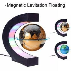 EU Plug Home Office Decoration LED Floating Tellurion Globe C Shape Magnetic Levitation Light World Map With LED Tellurion