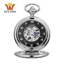 Fashion Brand OUYAWEI NEW Mechanical Pocket Watch Hombre Pocket Fob Watch Men Pendant Watch Steampunk Men Analog Relogio Horloge