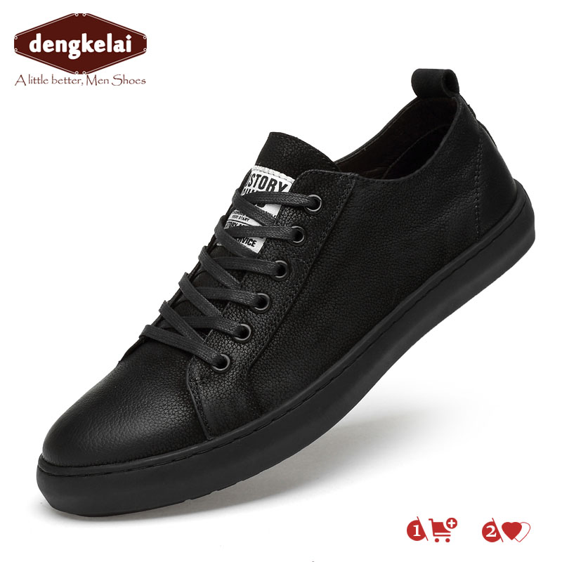 DENGKELAI Gnuine   Leather     Suede   Shoes for Men Casual Sneakers Luxury Brand Quality Male Spring Footwears 2019