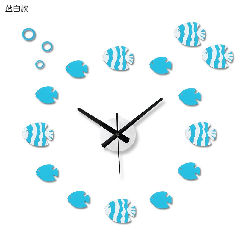 DIY Wall Clock Saat 3D Clock Horloge Murale Duvar Saati Reloj Cartoon Digital Wall Clocks Watch Klok Living Room Home Decor Fish