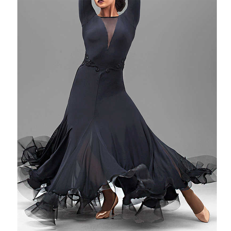 2018 New Sexy Ballroom Competition Dance Dress Women Waltz Tang Fish Bone Long Sleeves Dancing Costume Accept Customize Size
