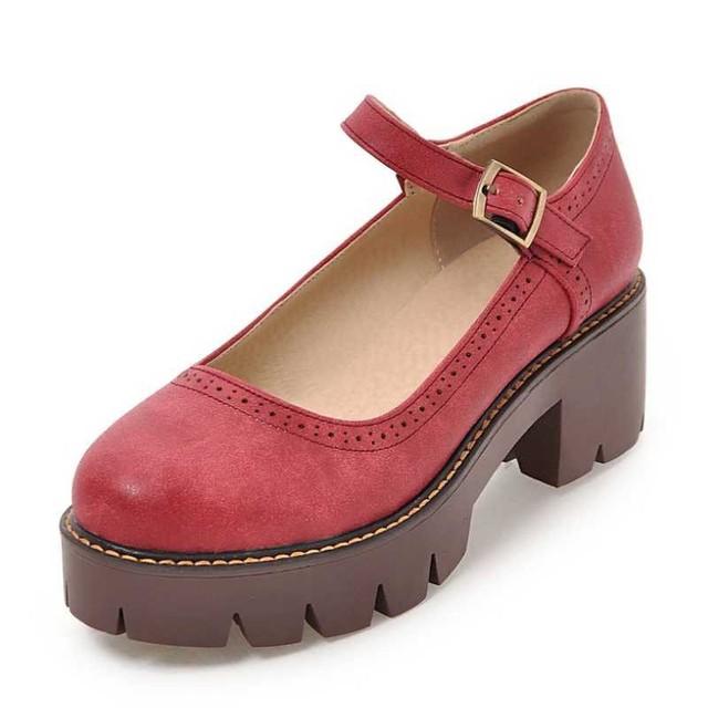 DoraTasia Tamaño Grande 32-43 Mujeres Retro Correa de Mary Jane Plataforma Correas Bombas de Tacón Grueso Keroan School Girl's zapatos