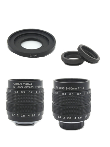2in1 Fujian Objectif CCTV 35mm f1.7 Objectif/50mm f1.4 Monture Bague Kit moniteur lentilles pour Nikon 1 AW1 S2 J4 J3 J2 J1 V3 V2 V1