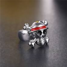 One Piece Silver Plated Skull Logo Ring