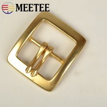 Meetee 1Pc 40mm Men Belt Buckle Snap Solid Brass Double Pin for 37-38mm Waistband Head DIY Jeans Accessories