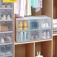 12pcs / set Shoe Organizer Tray Transparent Plastic Shoe Storage Box Rectangle Shoes Organizer Drawer Shoe Boxes