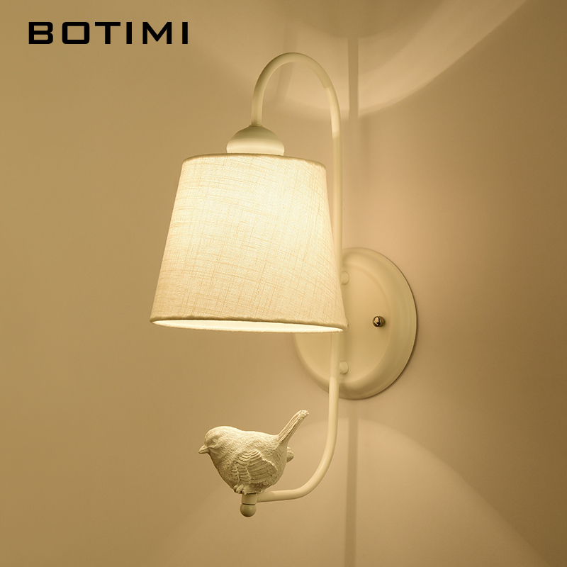 BOTIMI New LED Wall Lamp With Bird For Living Room Modern Fabric Wall Mounted Bedside Light White Wall Sconce Room Lights