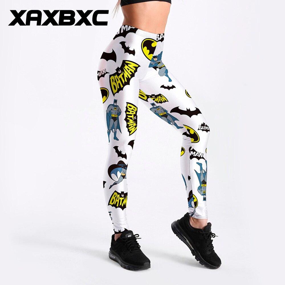 XAXBXC 3603 Sexy Girl Pencil Pant Comics Batman Logo White Cartoon Prints Elastic Slim Fitness Workout Women Leggings Plus Size