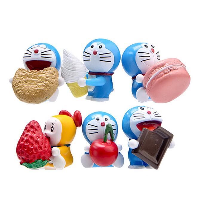 3.8-4.5cm Anime Cartoon Cute Doraemon Mini PVC Figure Model Toys Dolls 6pcs/set Child Toys Christmas Gifts 135