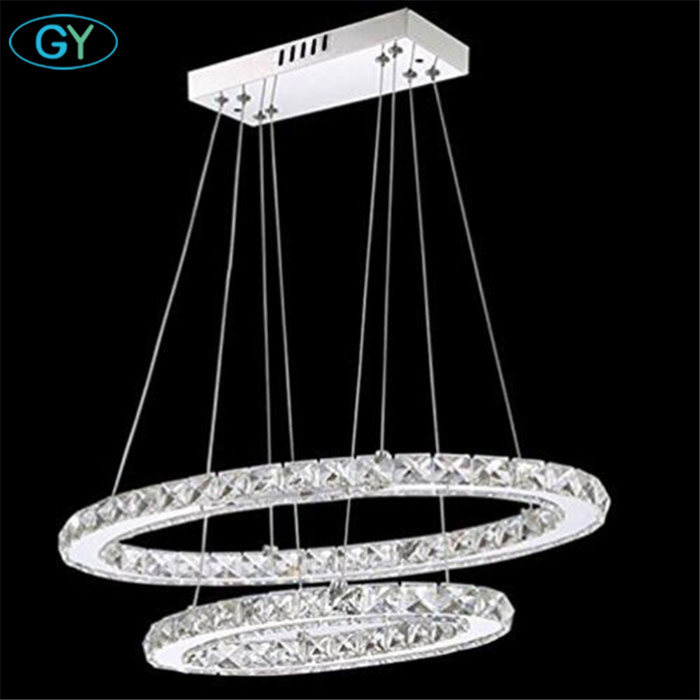 Ellipse 48W 64W Modern LED crystal pendnant chandelier lustre fixture lustres lamp for home living room two oval led fixture