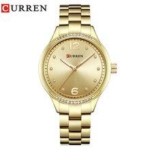 CURREN 9003 часы Для женщин Повседневное модные Кварцевые наручные часы Кристалл Дизайн Дамы подарков relogio feminino