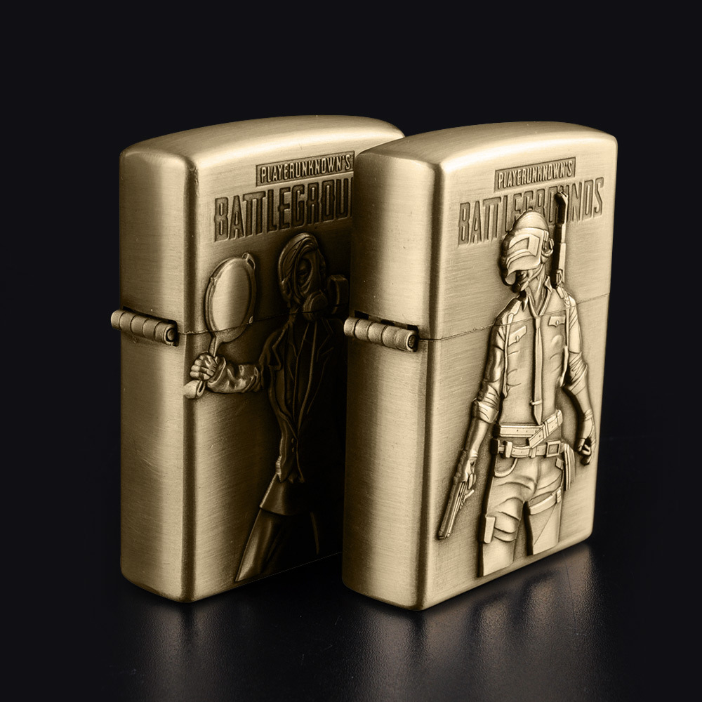 Image 3 - Bronze kerosene lighter new PUBG men's battlefield lighter flint refillable petrol cigarette metal retro gadget-in Matches from Home & Garden