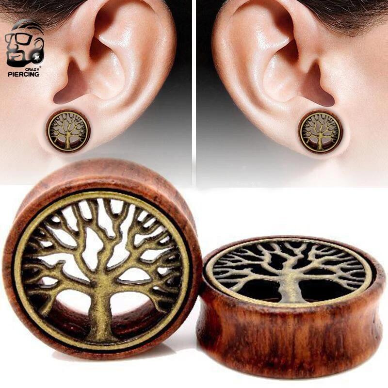 GOLD TREE OF LIFE Timber Ear Tunnel Piercing Jewellery Plug Saddle Wood TU61