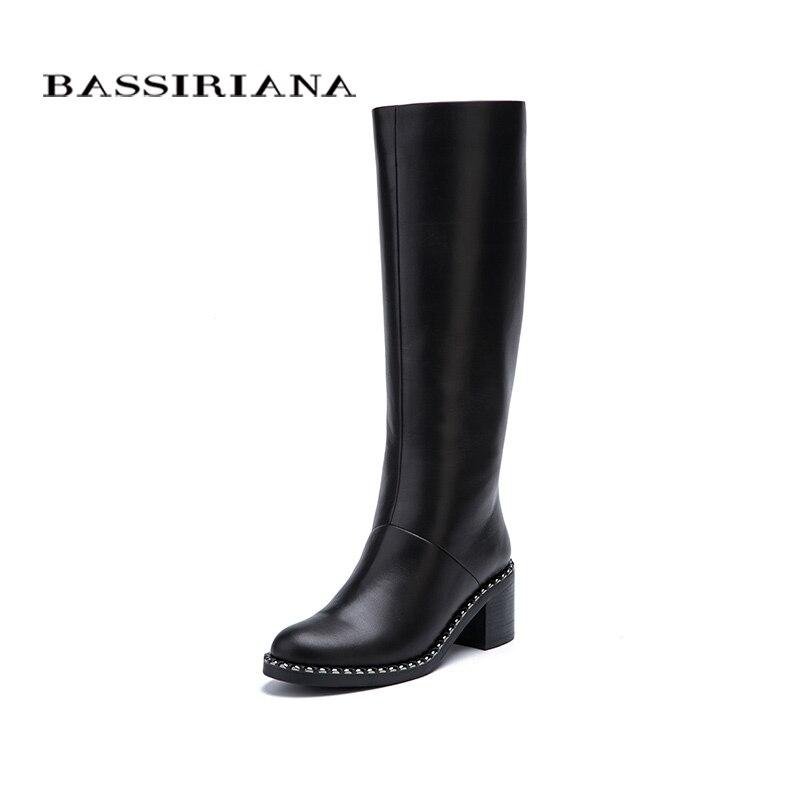 BASSIRIANA Novo 2017 Inverno Botas de Cano alto sapatos de salto alto mulher dedo do pé redondo zíper couro genuíno e camurça preta 35-40 tamanho