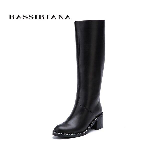 Bassiriana Новые 2017 Евромех натуральный мех зимние сапоги женские обувь женская на высоком каблуке квадратный с круглым носком на молнии натуральная кожа и замша Цвет: черный; размеры 35–40 Размер