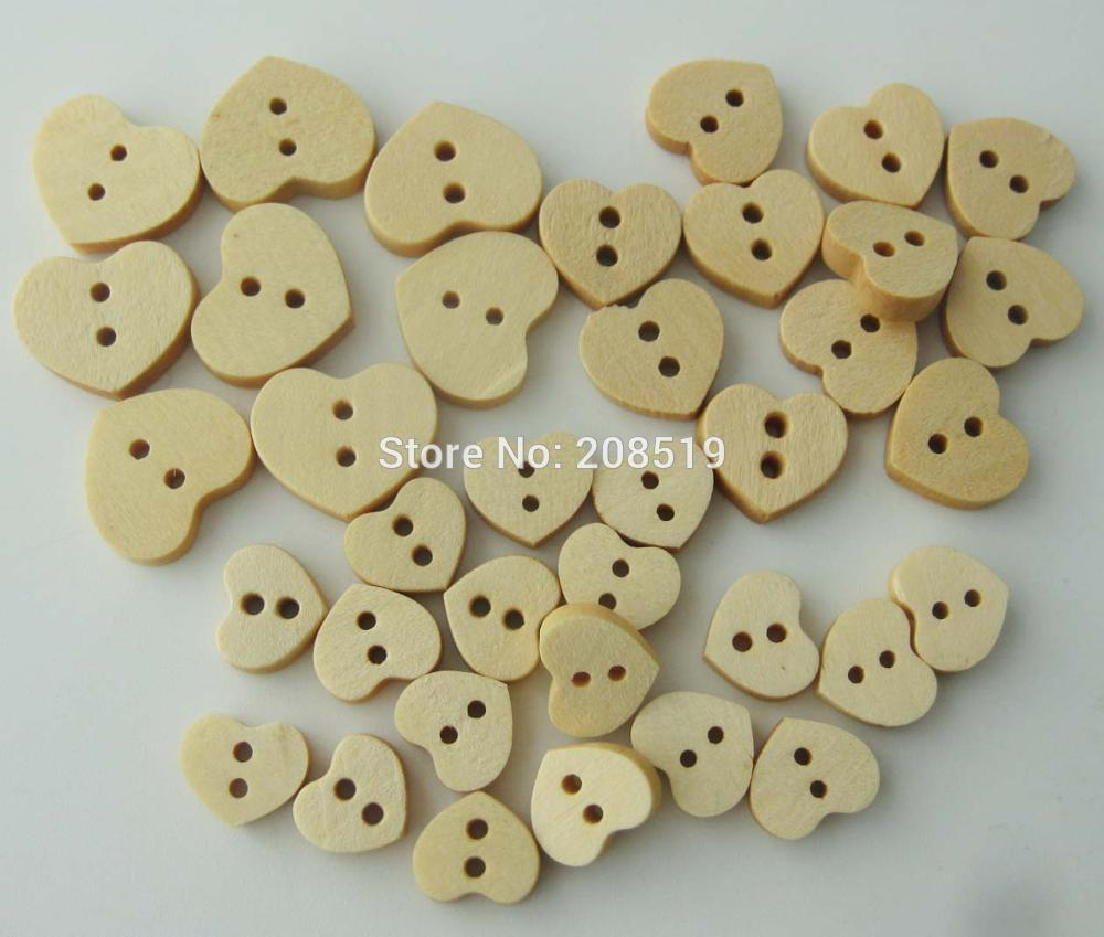 WBNSNL 3 sizes Heart wood button nature 150 pieces DIY scrapbooking ornament hand made craft supplies in Buttons from Home Garden