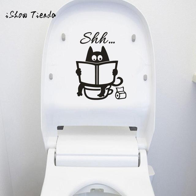 toilet sticker Cute Cat Shh Toilet Removable Art Vinyl Mural Home Room Decor Wall Stickers Bathroom Room Decoration posters