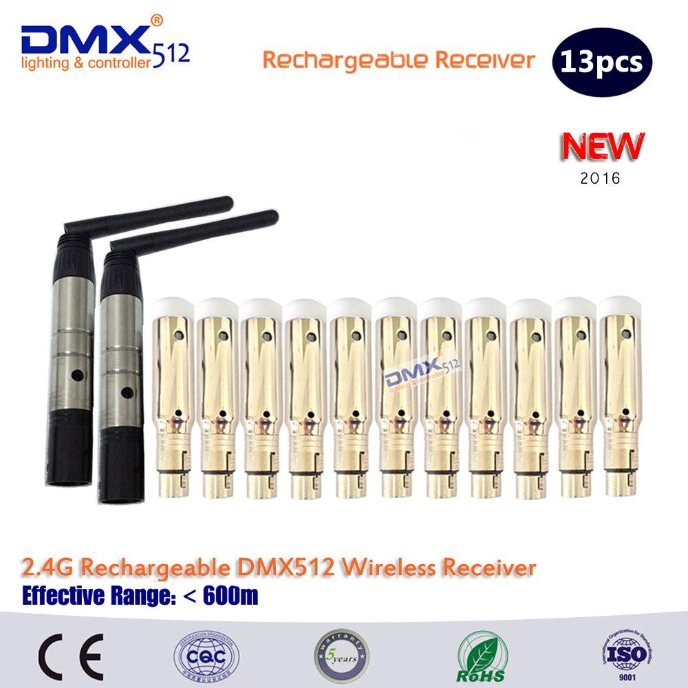DHL Livraison gratuite 13 pcs DMX512 DMX DFI 2.4G Sans Fil 11 Récepteur Batterie Intégrée & 2 Émetteur Contrôle de la Lumière