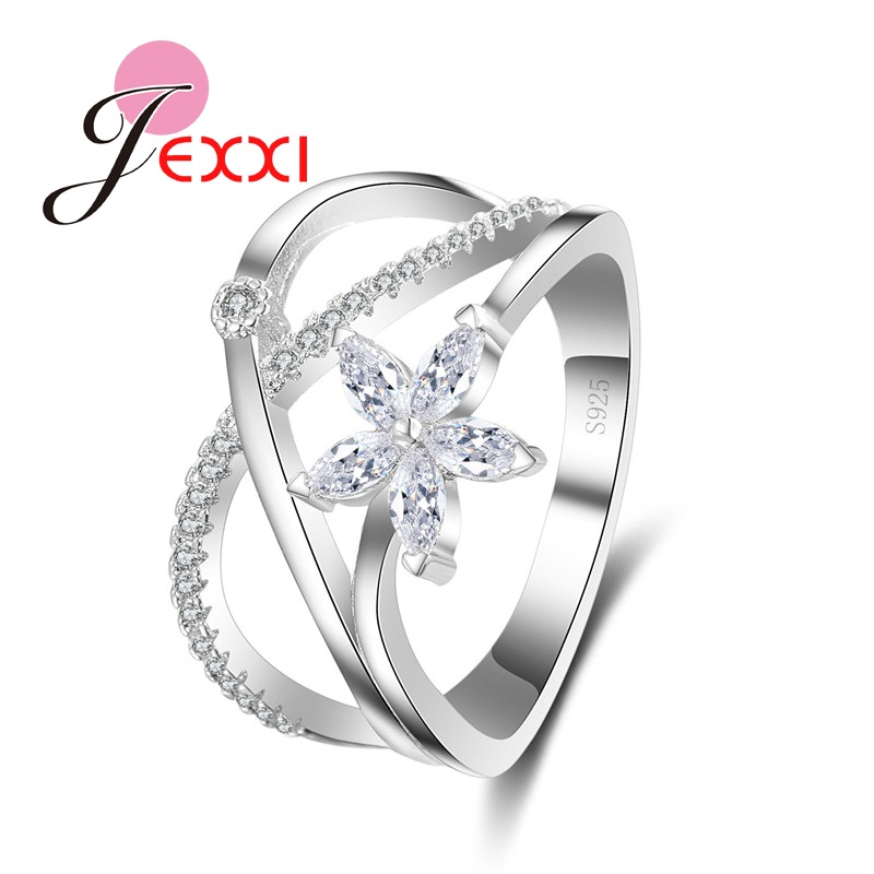 JEXXI X Cross Design Clear CZ Crystal Rings For Engagement Anniversary Party Silver Color Wedding Bands Ring Fine Jewelry