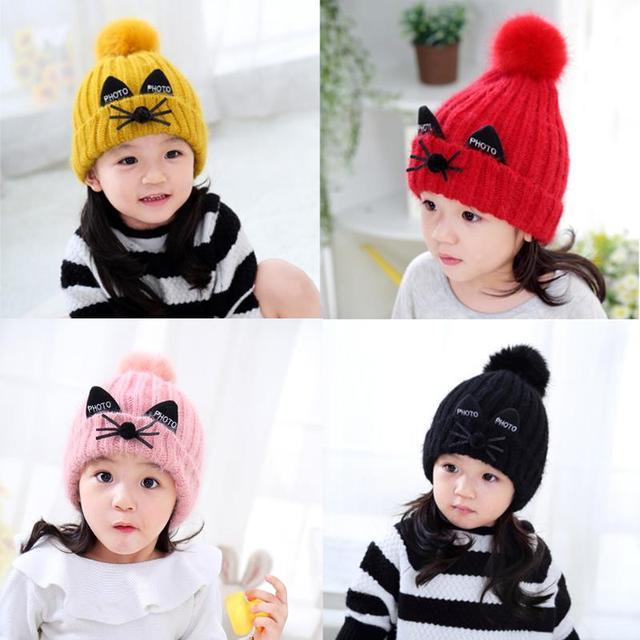 7e00f8168 Baby Animal Cat Ear Hat Kids Knitted Autumn Winter Warm Cute Hair Ball Wool  Cap Helmet Hat Caps Beanies Accessories