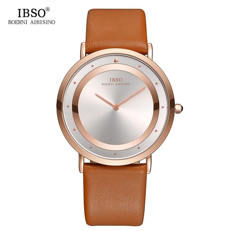 IBSO Brand 7 MM Ultra-thin Mens Watches 2018 Genuine Leather Strap Watch Men Fashion Simple Quartz Wristwatch Black Male Clock цена