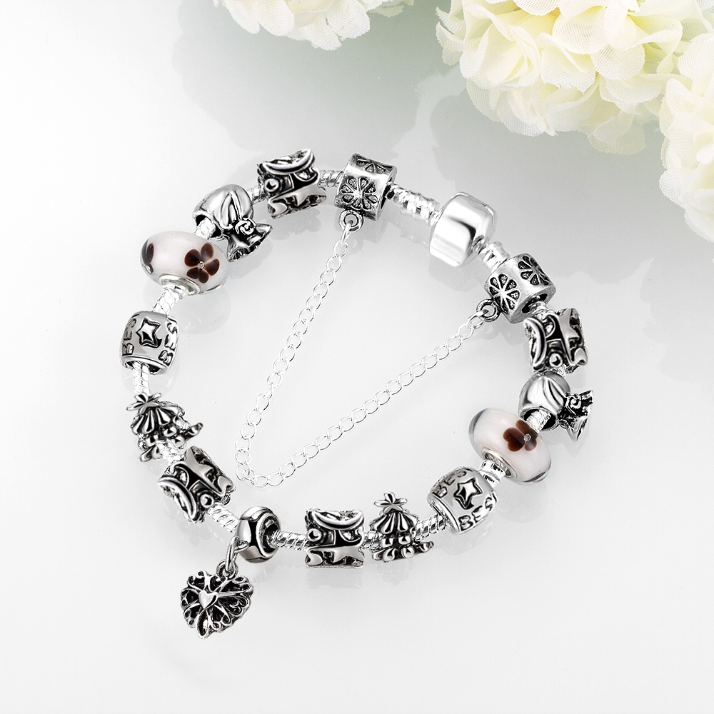 HERMOSA jewelry New elegant Fashion beautiful Bead DIY Removable plating silver woman Bracelet 20cm PDRH026