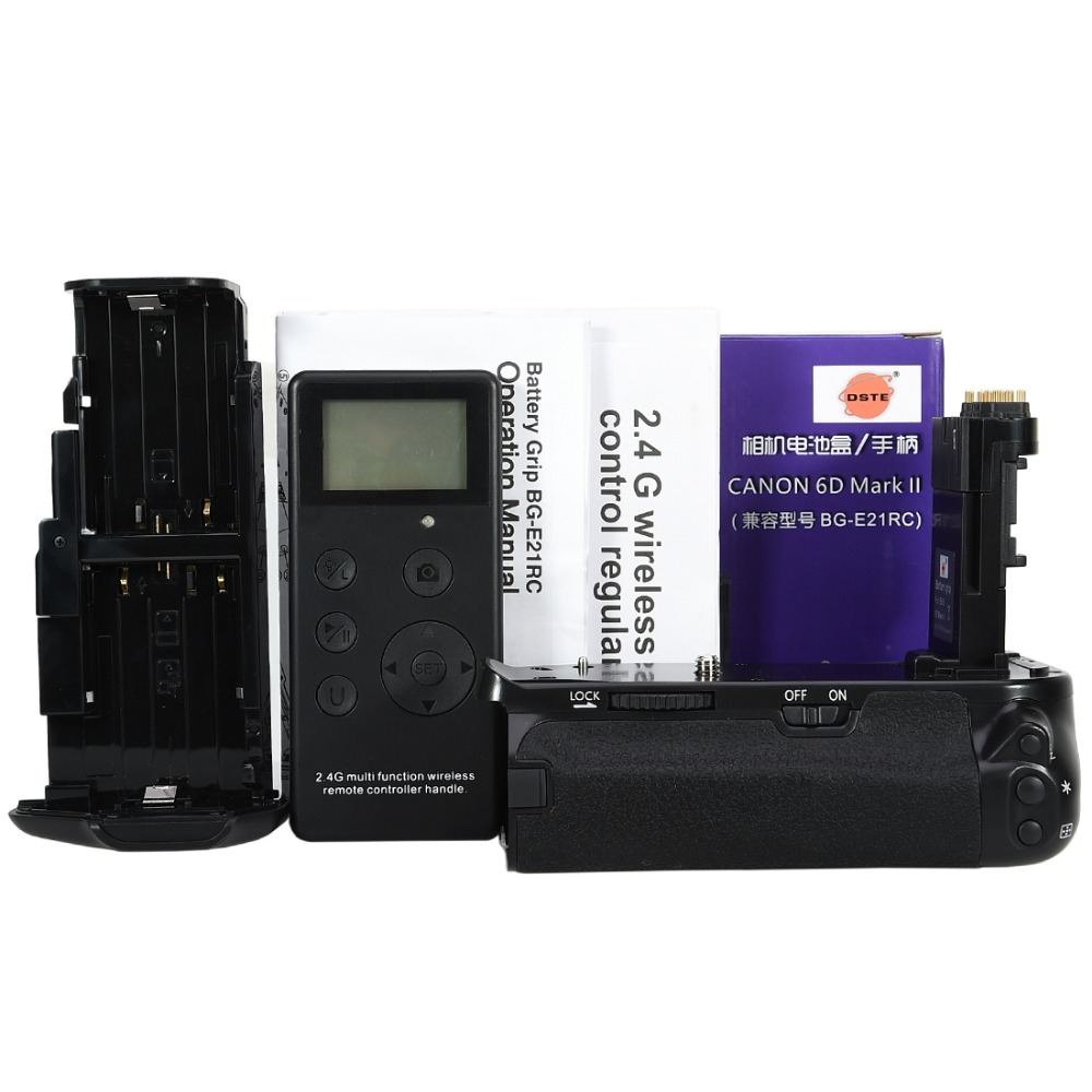 DSTE BG-E21 pro battery grip +2.4G wireless remote control fits for CANON 6D Mark II. dste mb d17 battery grip en el18a battery remote control for nikon d500 dslr camera