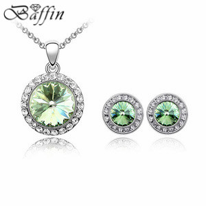 Top Quality fashion Jewelry Sets Made with SWAROVSKI Elements Crystal Round Pendants Necklaces Earrings Wholesale shdede heart necklaces pendants crystal from swarovski elements vintage fashion jewelry for women 10800