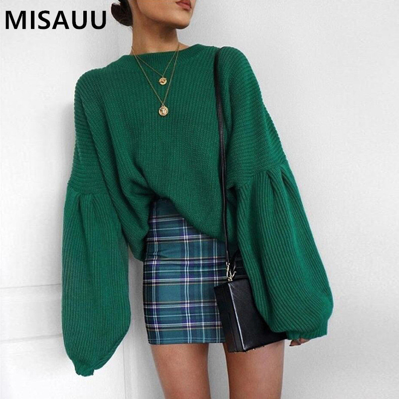 MISAUU 2018 New Winter Women Sweaters Fashion O-neck Lantern Sleeve Pullovers Loose Knitted Female Jumper Tops