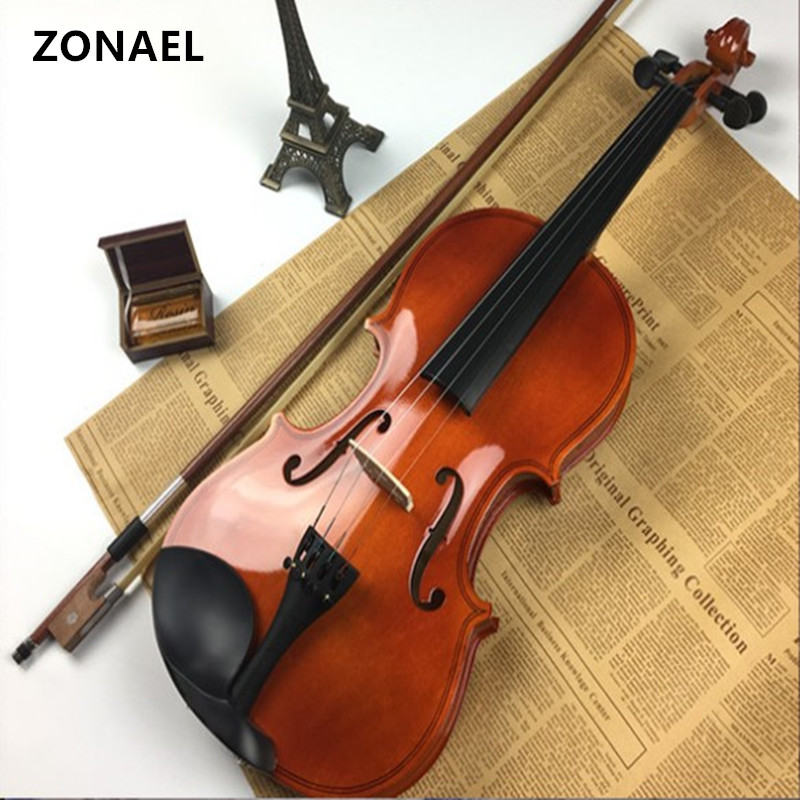 ZONAEL 4/4 Full Size Acoustic Violin Fiddle Black with Case Bow Musical Instrument   basswood v001 4 4 electric acoustic violin basswood fiddle with violin case cover bow rosin for musical stringed instrument lovers beginners