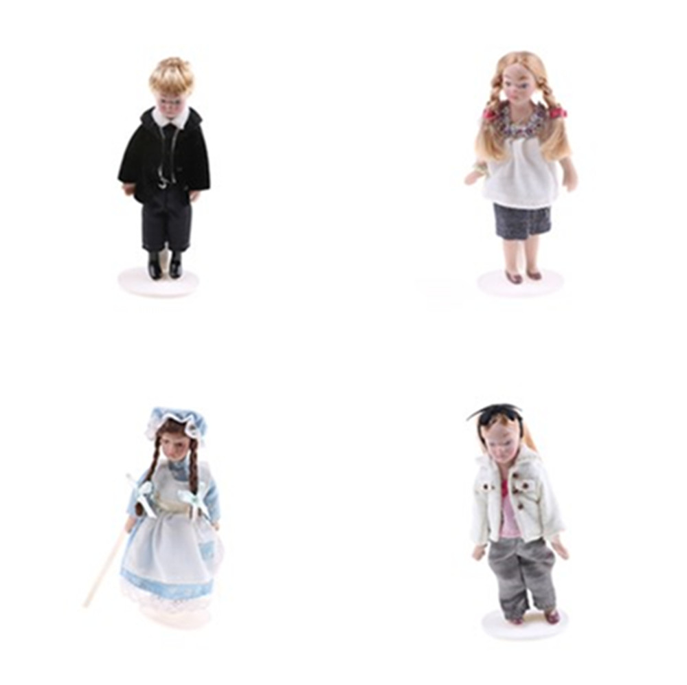 Cartoon Porcelain Doll Model Dress In Clothes Toy For Kids Adult Collectible Gifts Pretend Play Toys 1:12 Dollhouse Miniature