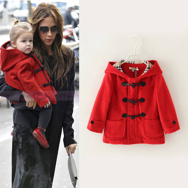 New arrival,2015 Autumn/Winter Children girls Brand fashion Cotton kind of blended Red Wool & Blends Outerwear