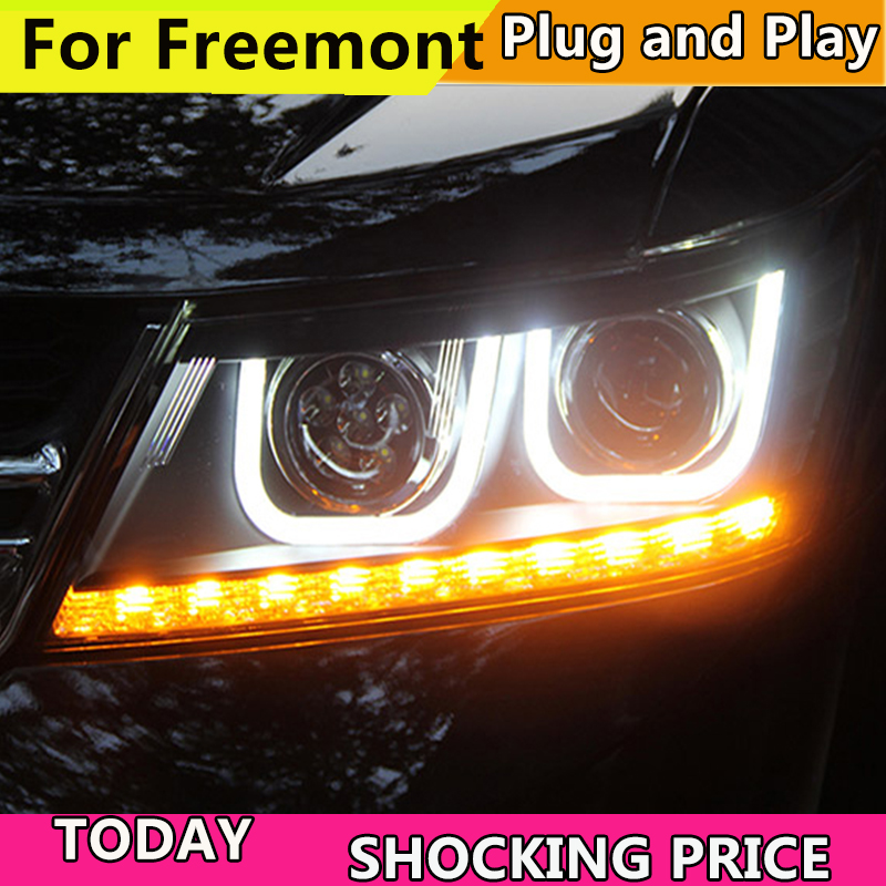 Автомобили фар для Dodge Journey фара 2009 2016 для Fiat Freement фары светодиодный DRL ходовые огни Биксеноновая луча противотуманных фар