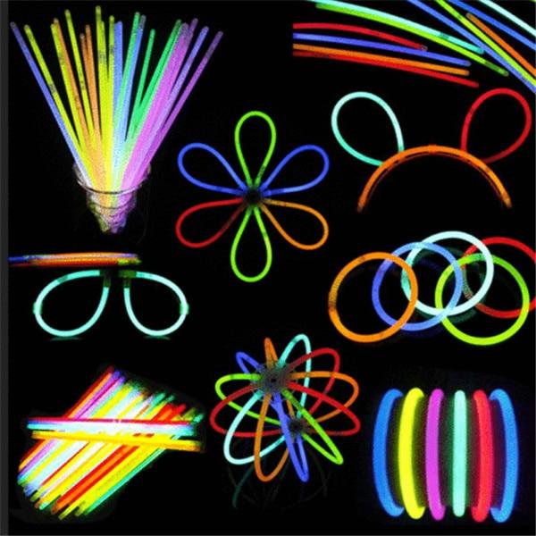 100 Pcs Glow Sticks Bracelets Necklaces Neon Colors Party Favors Disco Rave