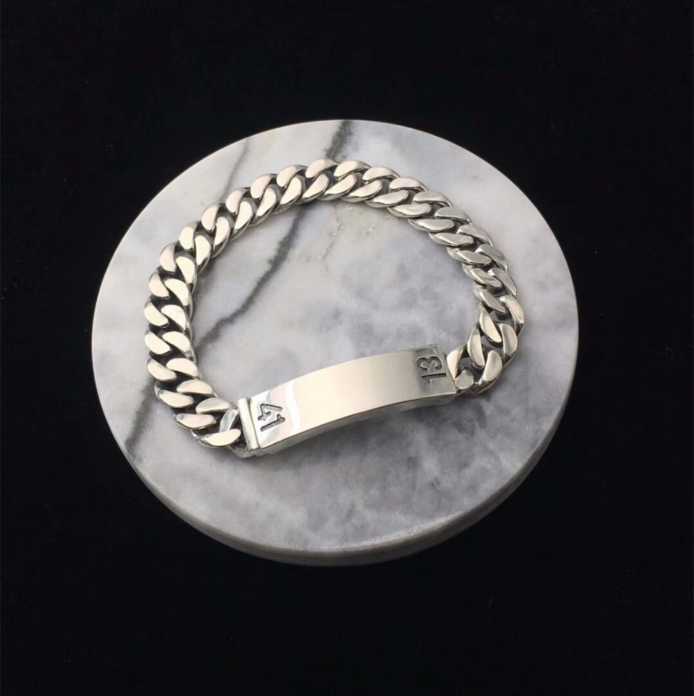 Solid Silver 925 Mens Chain Bracelet Top Fashion Simple Design 925 Sterling Silver Jewelry Men Number Rock Star Bracelet Men 27 5g solid sterling silver 925 skull cuff bangle bracelet men top fashion punk style rock star mens silver 925 jewelry gifts