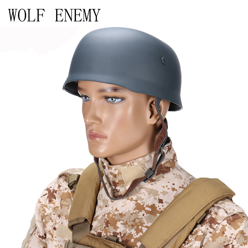 WWII German Fallschirmjager M38 Steel Helmet With Leather Liner Grey Paratrooper Helmet World War 2 German M38 Helmet world war ii german wwii wehrmacht officer 1 6 soldier set model stanford erich vo gm637 for gift collection